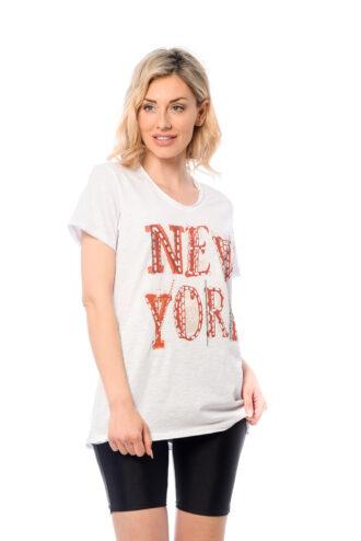 ΜΠΛΟΥΖΑ V ΜΕ ΞΕΦΤΙΑ ΚΑΙ ΤΥΠΩΜΑ NEW YORK